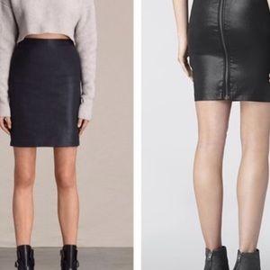 NWT All saints metal pencil zip up skirt